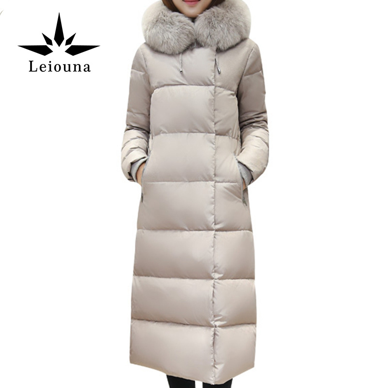 Leiouna White Winter Long Hooded Fur Collar Warm Down Cotton Women Solid Color Fashion Wadded Jacket Parka Duck In Moscow 100% white duck down women coat fashion solid hooded fox fur detachable collar winter coats elegant long down coats