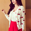 Autumn spring women Sweater cherry Embroidery Pattern all-match lady style  jacket coat Long Sleeve Short Knitting Cardigan Z-89