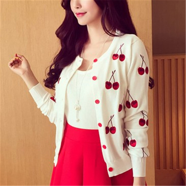 6d0acd0165f Autumn spring women Sweater cherry Embroidery Pattern all-match lady style  jacket coat Long Sleeve