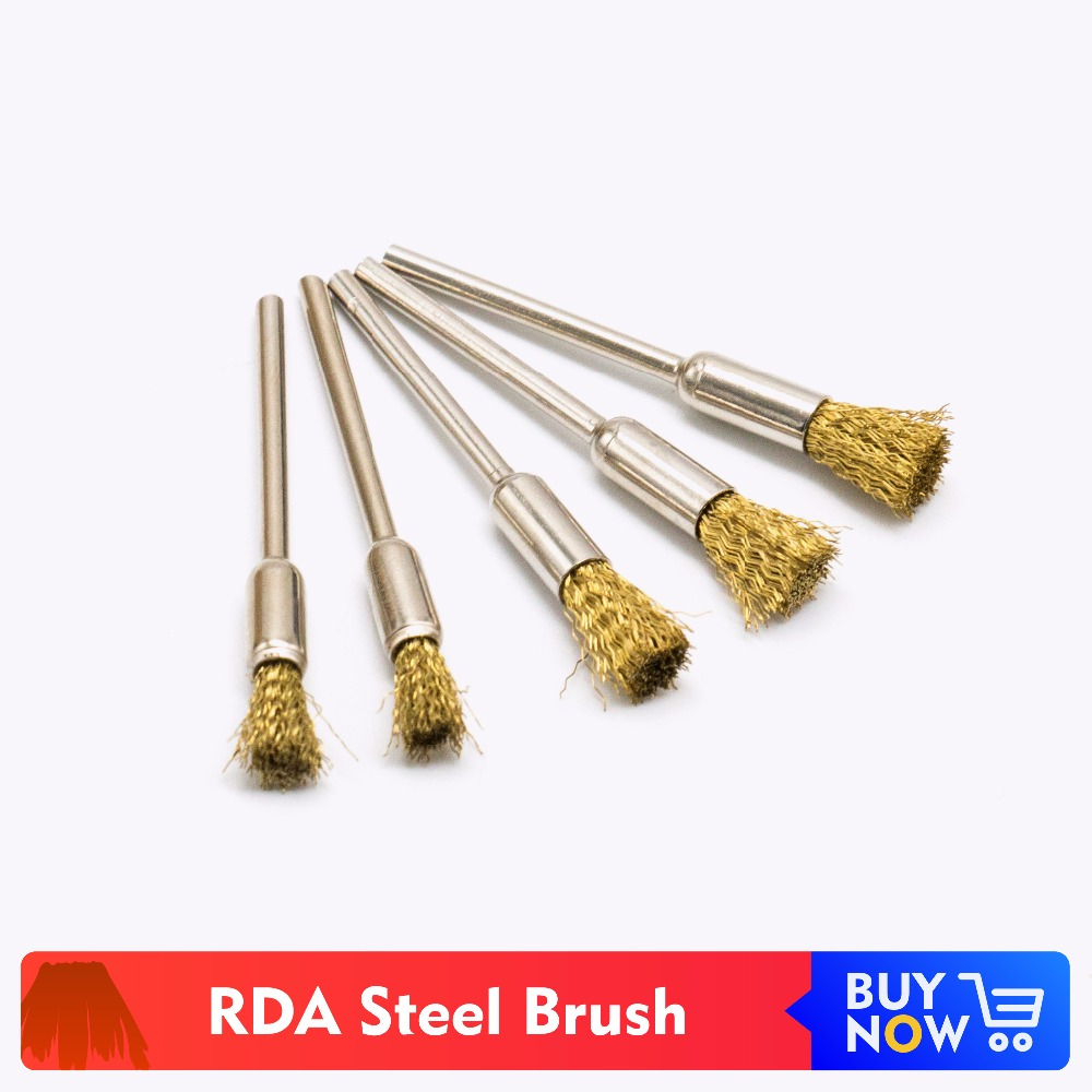 Volcanee 5pcs/lot Stainless Steel Deck Cleaning Brush RTA RDA Brush For Coil Vape DIY Heating Wire Coils Atomizer Tank