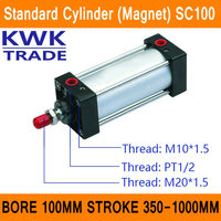 SC100 Standard Air Cylinders Valve Magnet Bore 100mm Strock 350mm to 1000mm Stroke Single Rod Double Acting Pneumatic Cylinder