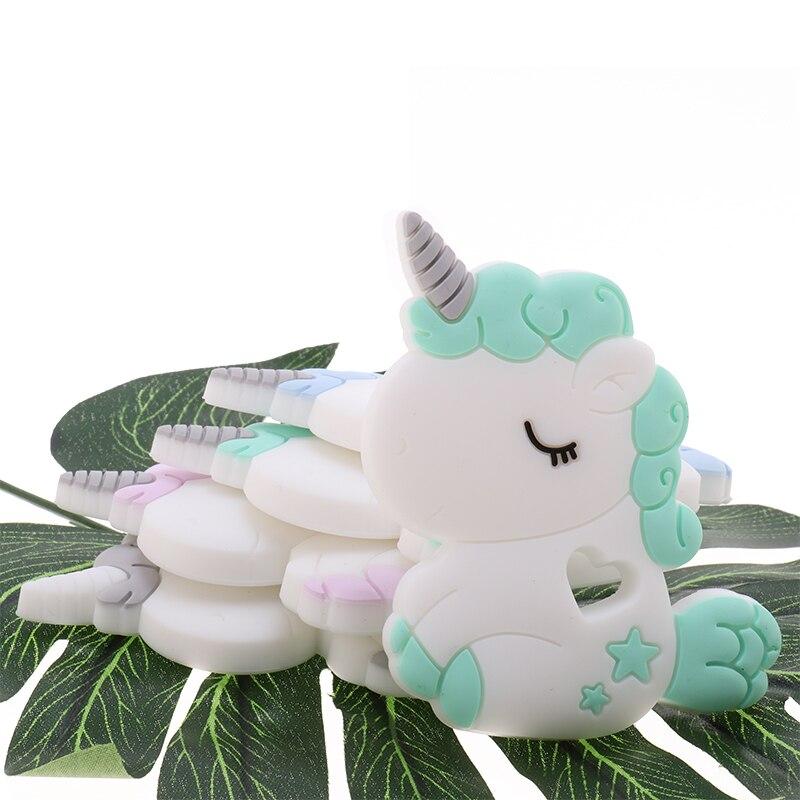 BPA Free 10pc Cartoon Animal Silicone Unicorn Teether Baby Teething Pacifier Chain DIY Newborn Chewable Bitting Necklace Jewelry