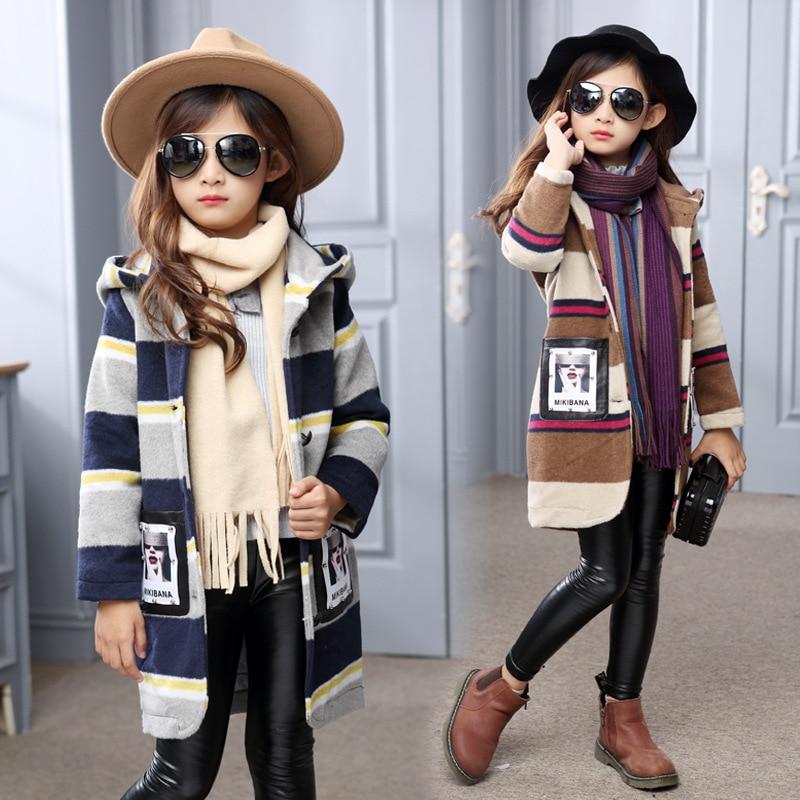 2017 Fashion Woolen Coat Girl Winter Jackets Stripes Letter Kids Long Sleeve Clothing Spring Girl Hoodies