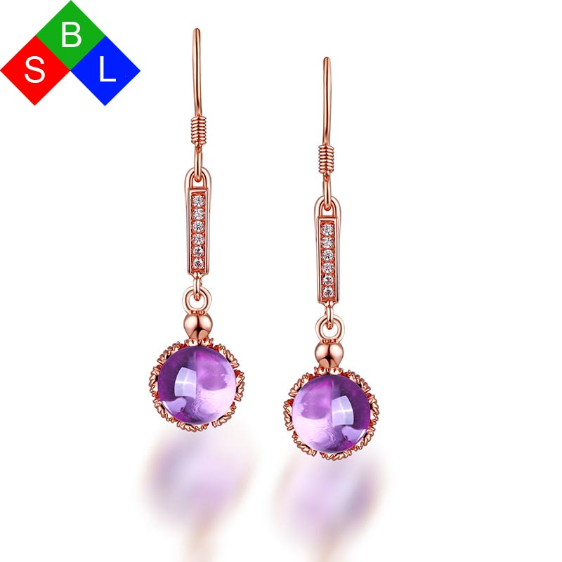 Red Trees Brand Fine Jewelry Geninue 925 Sterling Silver Drop Earrings With Natural Gemstone Amethyst Wedding