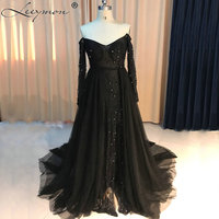 New Real Samples Elegant Black Long Off The Shoulder Tulle Sexy Beaded Strapless Evening Dresses 2018 Evening Party Gowns