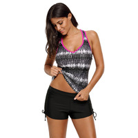 Print Tummy Control Sport Tankini Top Comfortable and Durable Wear Quick Dry Beach Swimwear