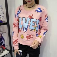 Autumn Winter 2016 Korean Fashion Personality Cartoon Letters Printed Hoodies Long Sleeve Designed Women's Sweatshirts Hoodies