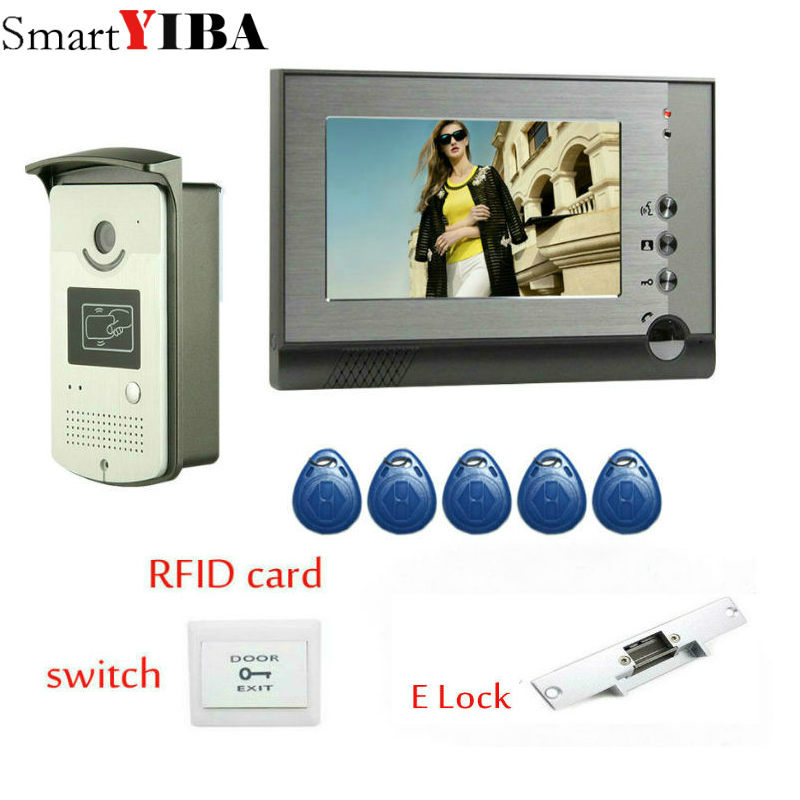 SmartYIBA Wired Cheap 7 inch LCD Color Video Door Phone DoorBell Intercom System IR Night vision Camera FREE SHIPPING 7 inch lcd monitor video door phone doorbell intercom system ir night vision aluminium alloy camera video interphone kit