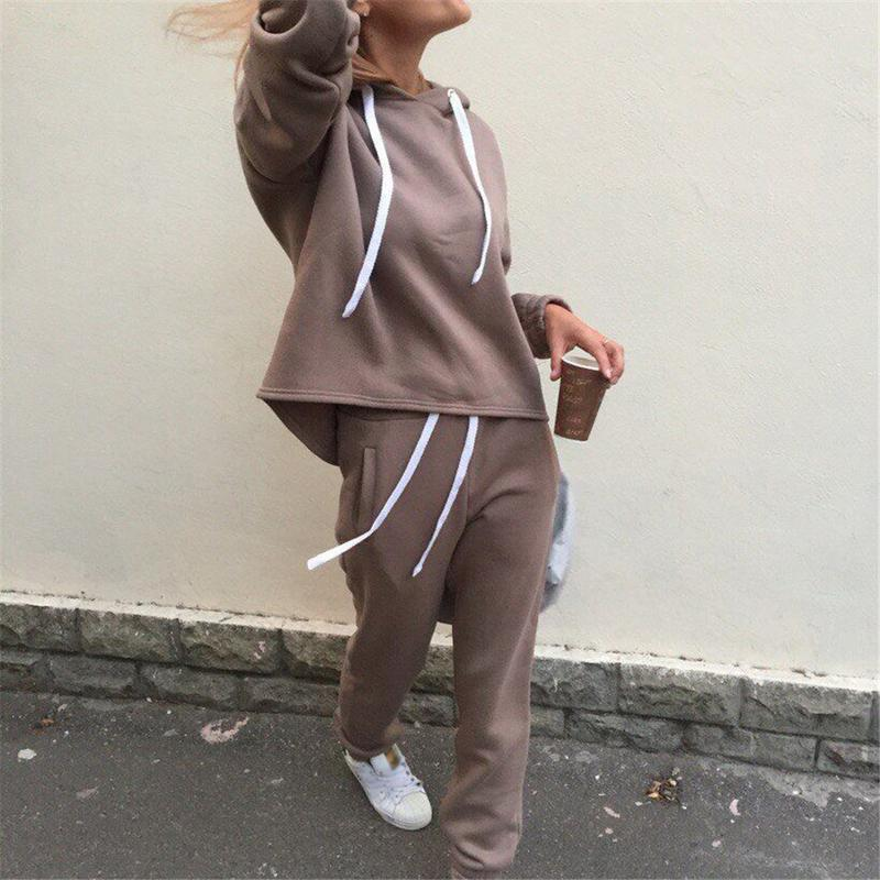 Women Autumn Winter Yoga Set Tracksuit Thicken Hooded Sportswear Long Sleeve Tops+Pants 2 Piece Set Clothing Suit