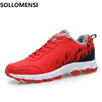 Winter Warm Running Shoes New Arrival Men Running Shoes Outdoor Sports Trainers Athletic Male Shoes Black