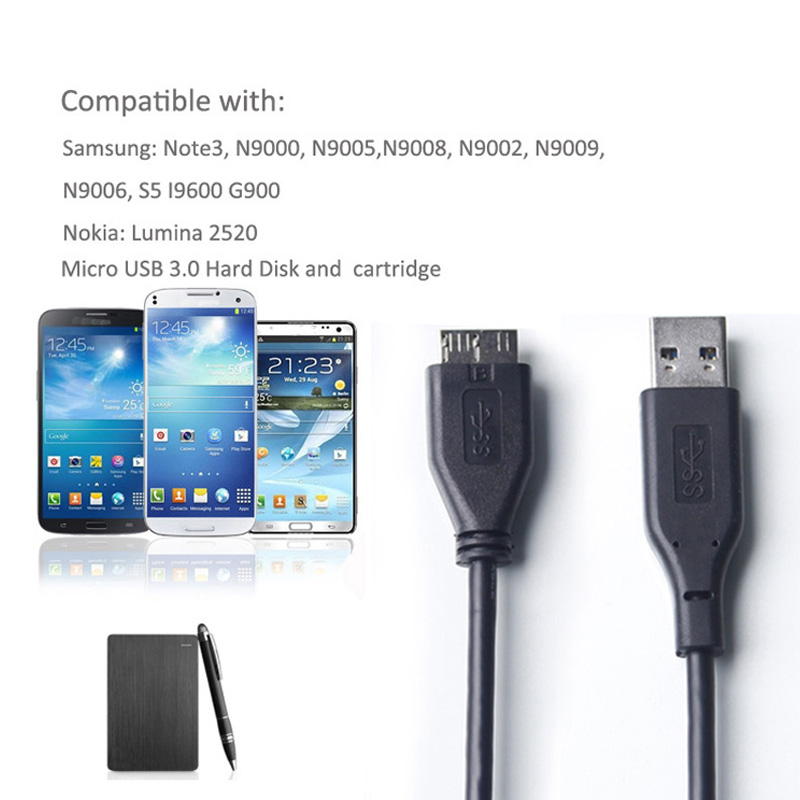 ULT-Best Micro USB 3.0 Cable Data Sync Kabel USB 3.0 Data Cable for Samsung Note3 S5 Toshiba WD Seagate SSD