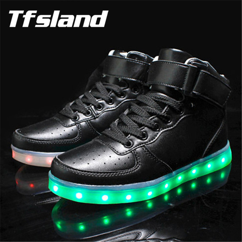 factory price cae74 9769b New LED Light Up Women Men Chaussures Lumineuse Zapatos Schoenen Stansmith  Schuhe Luminous Adults Couples Skateboarding Sneakers-in Skateboarding ...