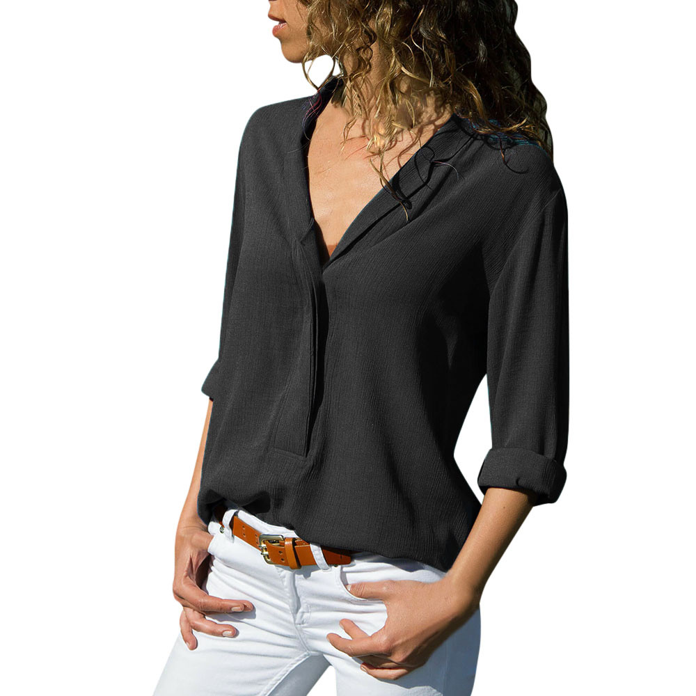Women Blouse and Tops 2018 Autumn Women Casual Solid Long Sleeve Turn Down Collar Chiffon Button Front Shirt Tops