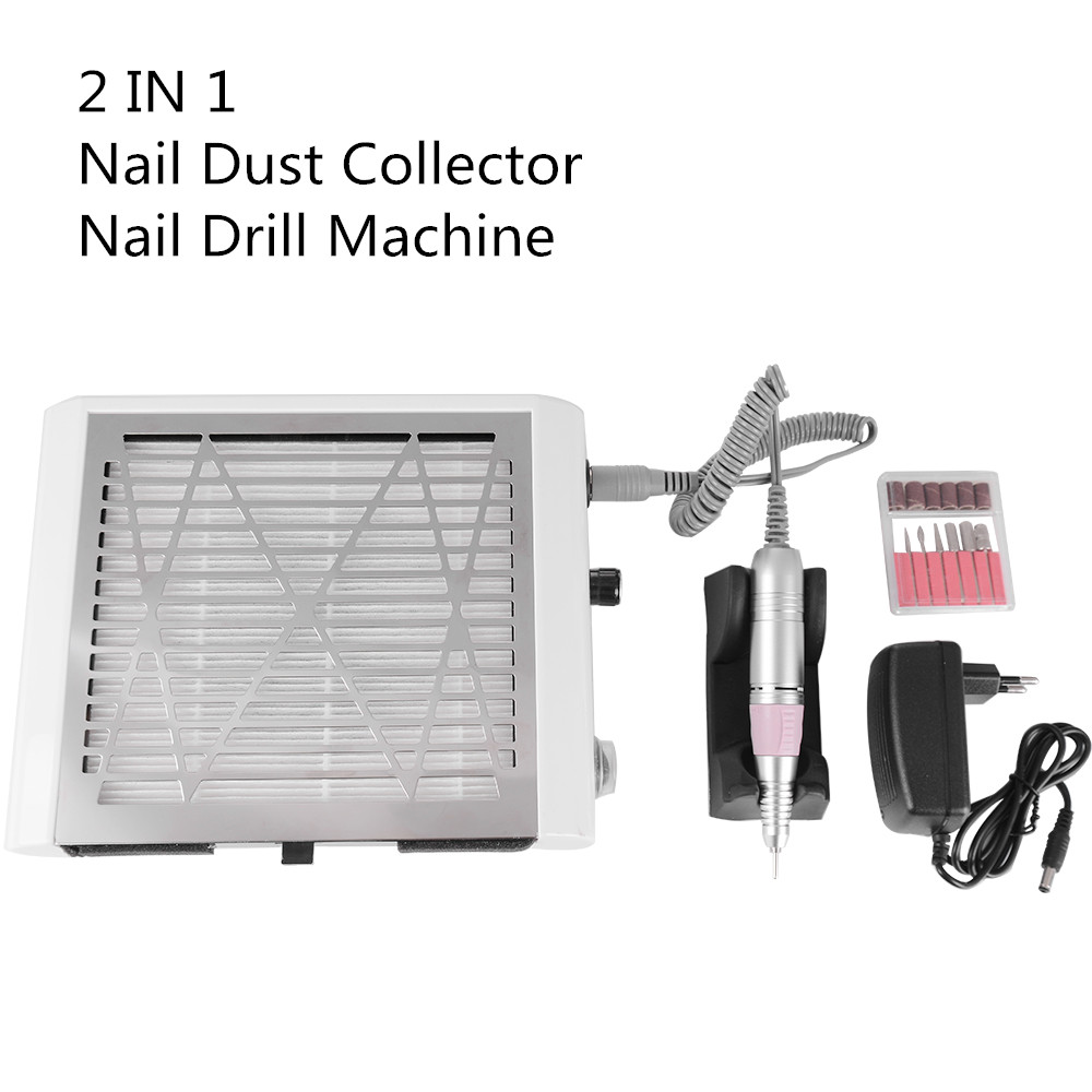 2 in 1 Portable Nail Dust Collector and Nail Drill Machine with Filter Professional Nail Manicure