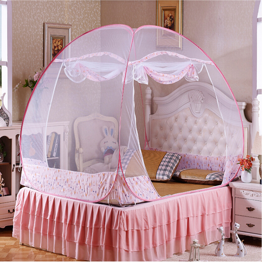 Hot Selling Girls Canopy BedPink Blue Mosquito Net for Double BedFolding Decorative Beding NetsPortable Princess Bed Tents-in Mosquito Net from Home ... : girl bed tent - memphite.com