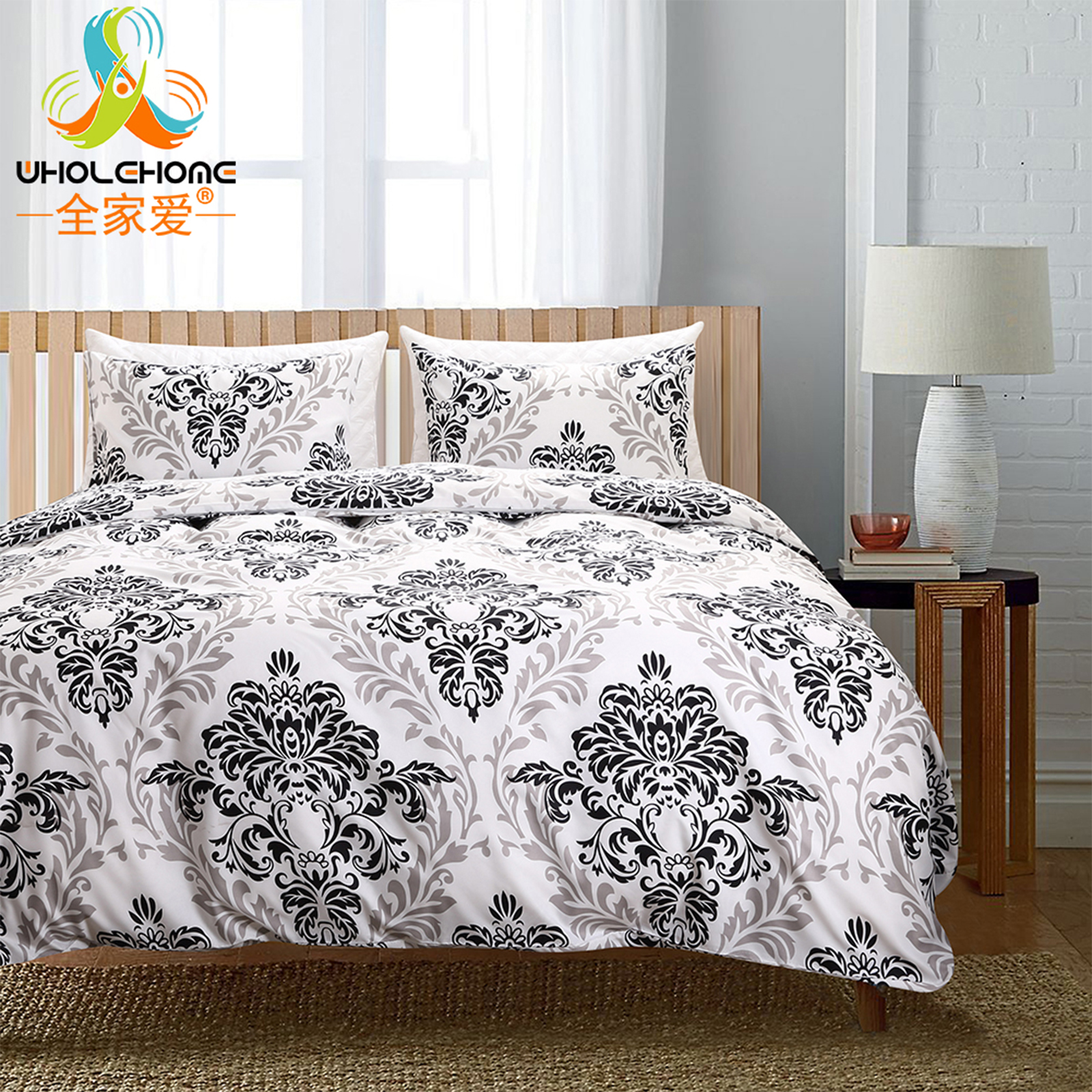 luxury bedding set duvet black and white color baroque decorative bed cover set twin queen king. Black Bedroom Furniture Sets. Home Design Ideas