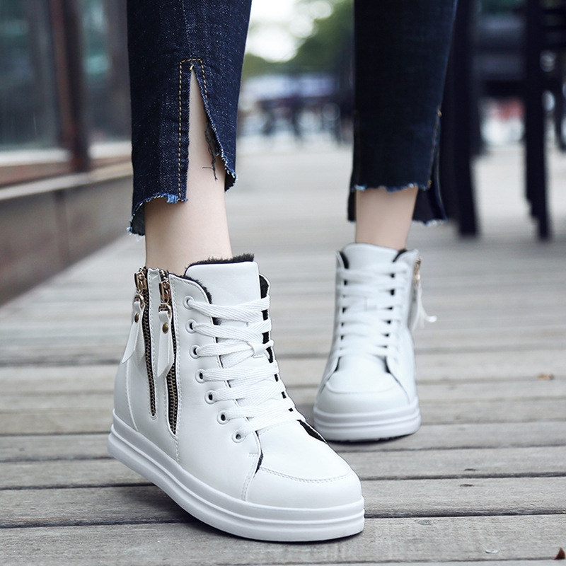 Image 4 - SWYIYV White Shoes Woman High Top Spring Autumn 2018 Female Fashion Casual Shoes Zipper Hided Wedge Lady Sneakers White ShoesWomens Vulcanize Shoes   -