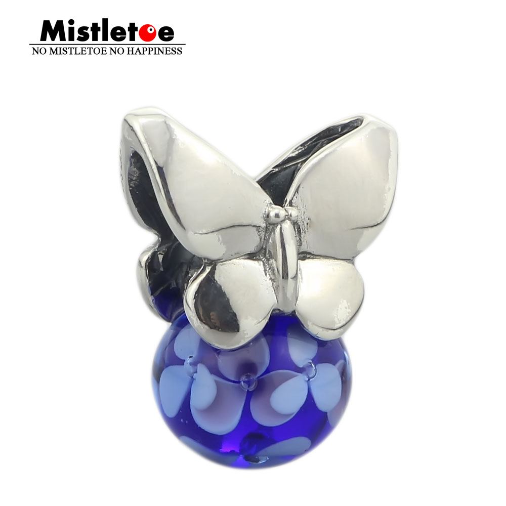 Mistletoe Jewelry Genuine 925 Sterling Silver Summer Butterfly Charm Beads Fit European Troll 3 mm Bracelet