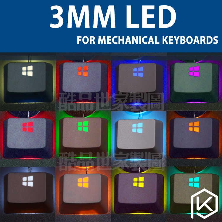 لوحة المفاتيح الميكانيكية الخاصة LED لمبة لمبة 3 مللي متر الجولة لا نهاية لها 14 ألوان اختياري الأبيض الجليد الأزرق الأخضر الأحمر الأصفر الأرجواني