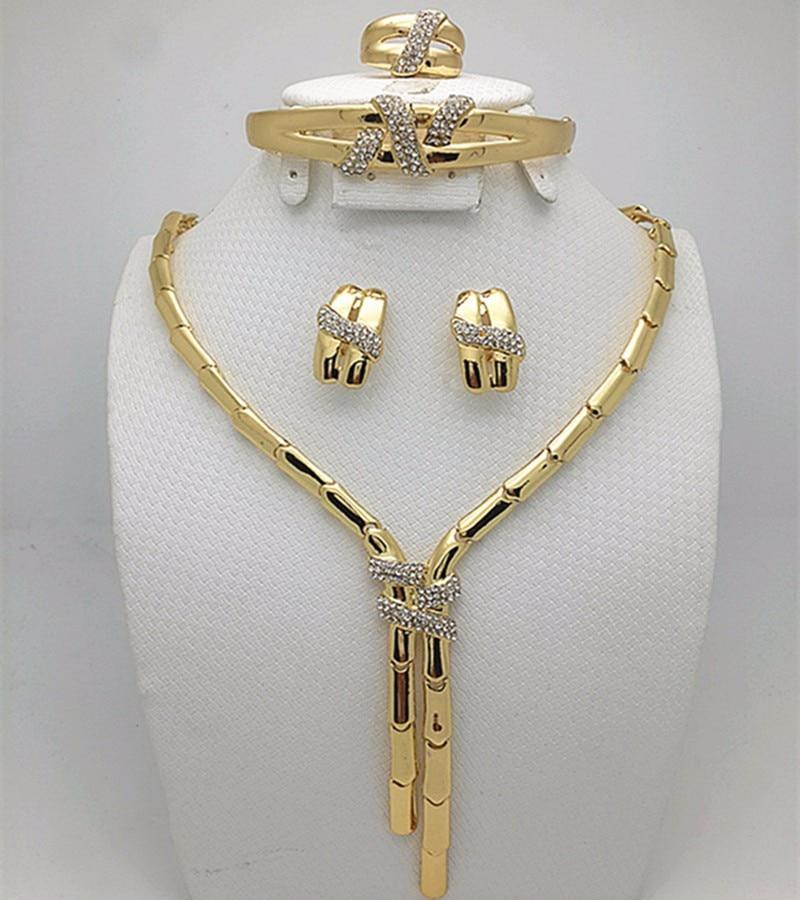 2016 Mode Dubai Gold Farbe Schmuck Set Hochzeit Nigerian Afrikanischen Perlen Ohrringe Halskette Set Rose Whtie Gold Schmuck Set