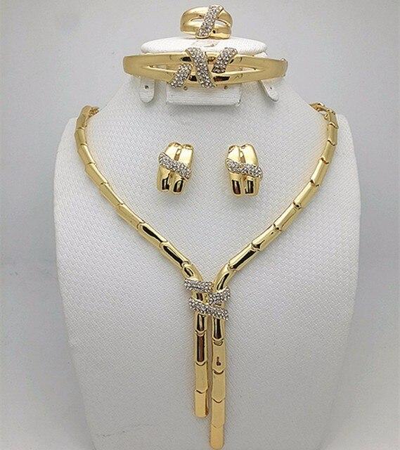 2016 אופנה דובאי זהב צבע תכשיטי סט ניגרי חתונה אפריקאית חרוזים עגילי שרשרת סט עלה Whtie זהב תכשיטי סט