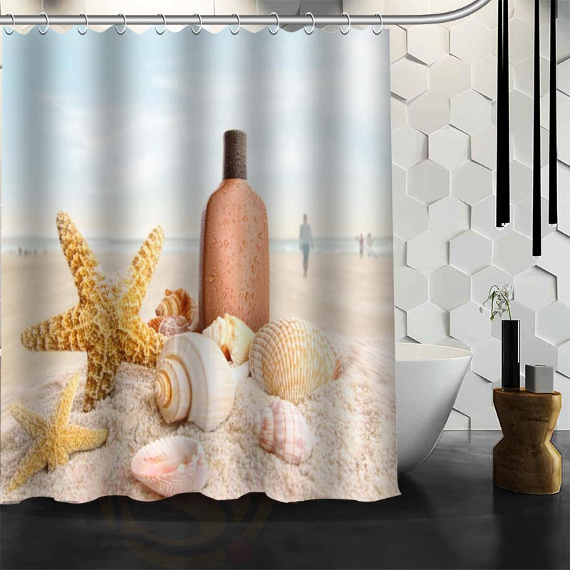 Aliexpress.com : Buy Custom New Waterproof Shower Curtain Bathroom Curtain  Beach Spa Seashell Starfish Stones Candle And Llower Shower Curtain From  Reliable ...