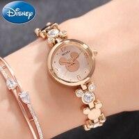 Mickey Mouse Bling Rhinestone Luxury Ladies Trendy Bracelet Gold Silver Steel Watches Disney Women Dress Beautiful Crystal Clock