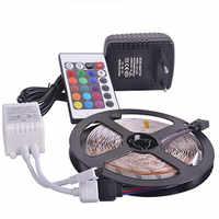 New RGB led strip light 5M 10M 2835 SMD non waterproof led light IP20 IP65 Flexible LED Strip adapter 24keys remote rgb full set