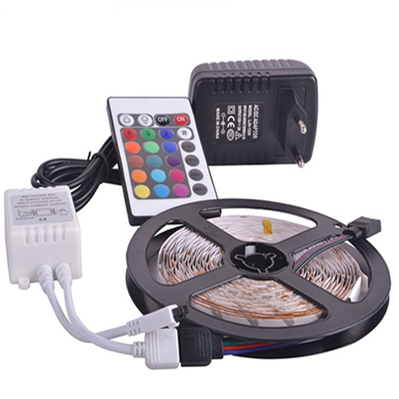 Nova RGB led luz de tira 5 M 10 M 2835 SMD não à prova d' água levou adaptador de luz IP20 IP65 Faixa de LED Flexível 24 teclas rgb controle remoto conjunto completo