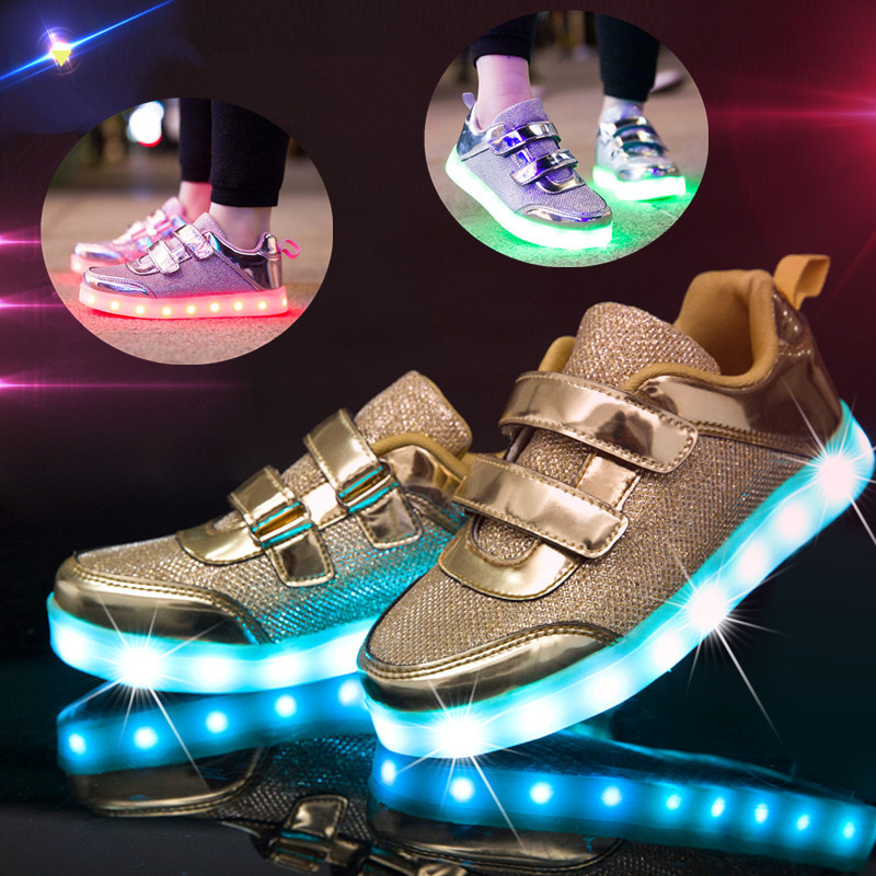 Fashion Bright Solid USB Led Light Up Kid Shoes Breathable Hook &Loop Children Charging Luminous Sneakers For Girl And Boy 25-37 new fashion women led shoes camouflage pattern usb charging light up shoes breathable glow in the dark shoes blue gray
