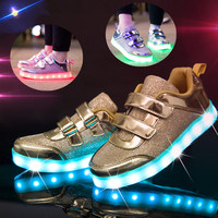 Fashion Bright Solid USB Led Light Up Kid Shoes Breathable Hook Loop Children Charging Luminous Sneakers