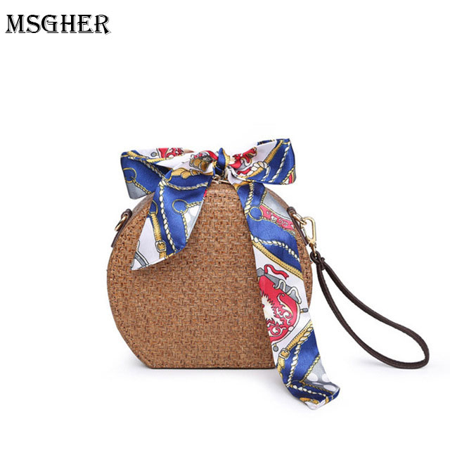 M.S Scarves Round Totes Womens Straw Bags Woven Bohemian Bow Handbag Vintage Joker Fashion Handbags New Tops Holiday Bag SW043