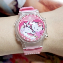 KT hello Kitty glow cartoon silicone LED flash light watch girls