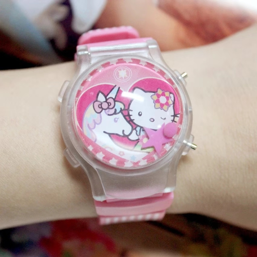 KT Hello Kitty Glow Cartoon Silicone LED Flash Light Watch Girls And Children Electronic Baby Flip Cover Watch