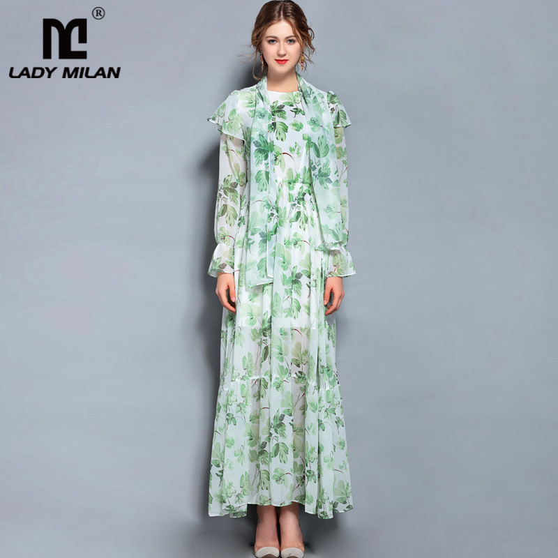 New Arrival 2018 Womens O Neck Long Sleeves Ruffles Printed High Street Casual Long Dresses with Scarf