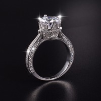 Luxury 100 Real Solid Silver Rings Inlay Natural Crystal Crown 8mm 3ct Simulated Diamond Engagement Wedding