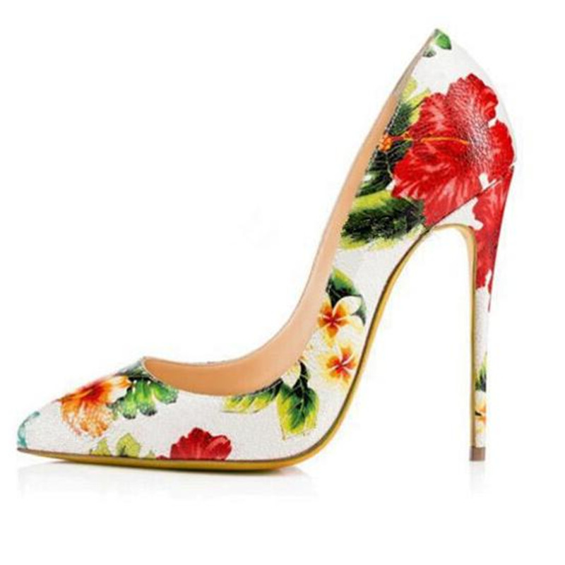 Salu Top Quality Colorful Floral Printed Women Party Wedding Shoes 12cm  Stiletto Sexy High Heels Slip dd83973e5199