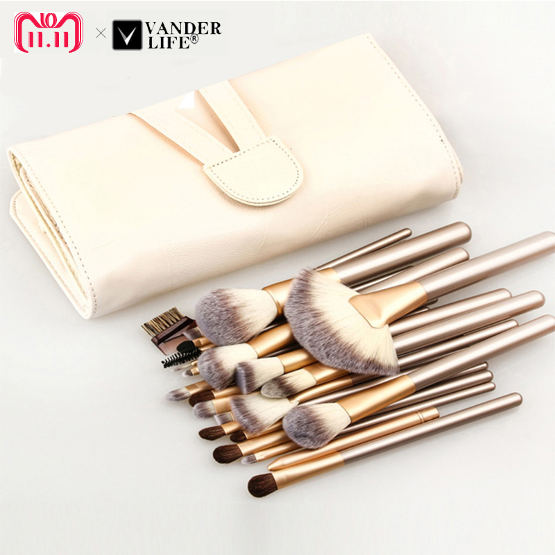 Professional Soft 12/18/24pcs Makeup Brushes Set Cosmetic Make Up Tools Foundation Eyeshadow Blush Kits + Leather Bag maquiagem fashion 10pcs professional makeup powder foundation blush eyeshadow brushes sponge puff 15 color cosmetic concealer palette