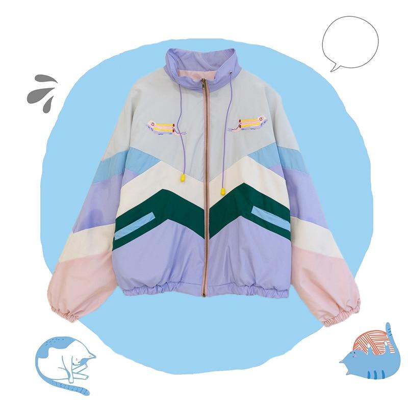 Autumn Winter Cute Child Fun Embroidery Girls Hoodies Spell Color Kawaii Cartoon Student Sweatshirt Sweet Women Pullovers