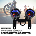 Motorcycle Odometer Speedometer Motor Tachometer Gauge Motorbike 12V with Chrome Plating Housing with LED Backlight Signal Light