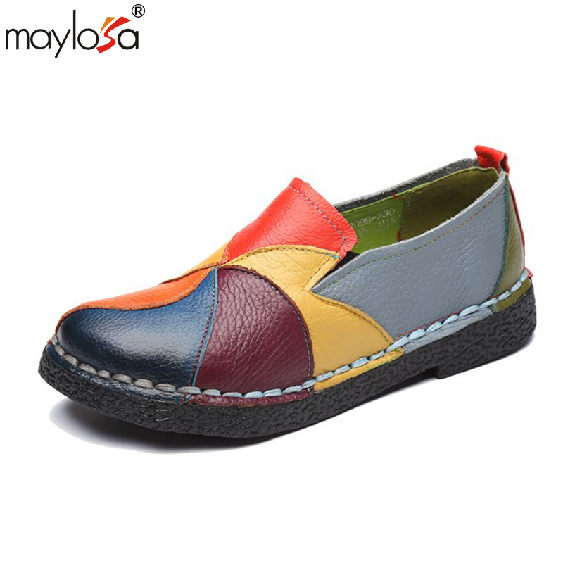 MAYLOSA spring Autumn women flats Spring autumn handmade women's shoes genuine leather casual soft outsole cowhide female shoes genuine cow leather spring shoes wedges soft outsole womens casual platform shoes high heel round toe handmade shoes for women
