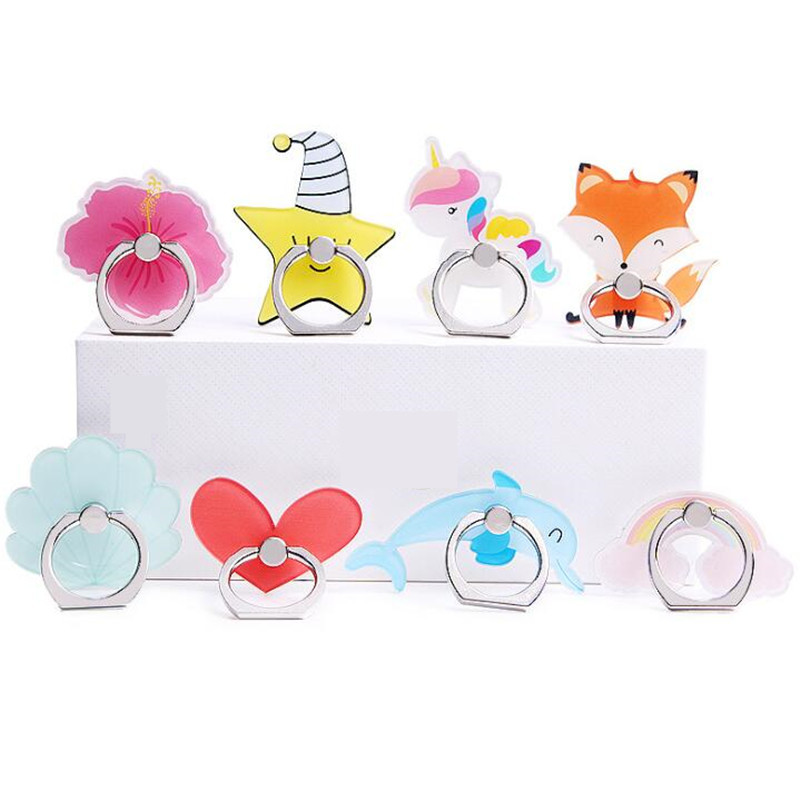New Arrival Mobile Phone Holder Metal Finger Ring Holder Dolphin Fox Rainbow Phone Ring Holder Phone Stand Support
