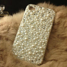 Full Back Mix Pearls Diamond Crystal Hard Phone Cases Coque Back Cover for Samsung Galaxy for iPhone 5s SE 6s 7 Plus Case Capa