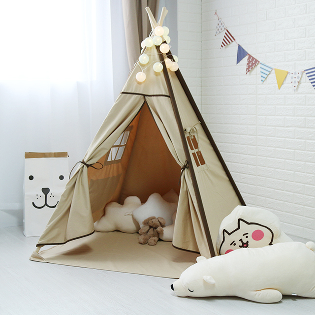 Teepee Canvas Indoor Play Tent For Kids Tipi Tent Playhouse Wigwam