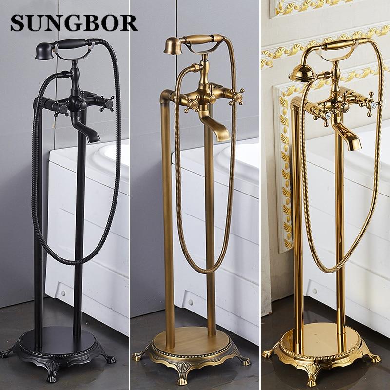 Ванная комната напольная подставка для ванной кран масло матовый черный Ванна стоят вдоль нажмите Роскошные Бесплатная стоя бронза латунь ...