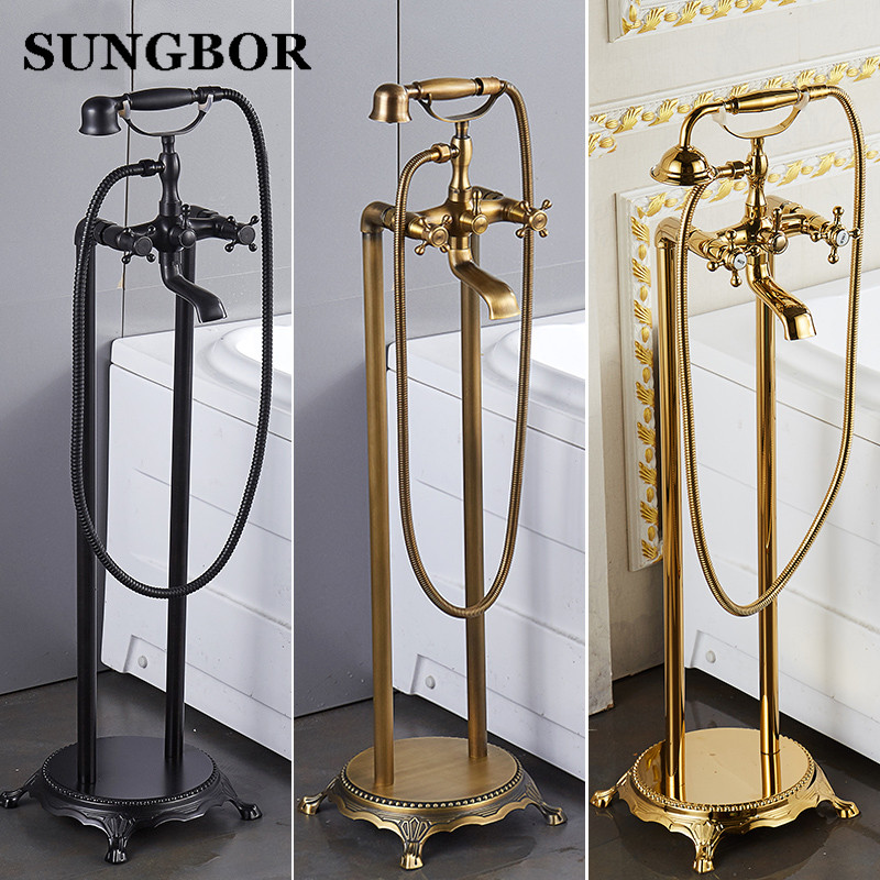 Bathroom Floor stand bathtub faucet Oil brushed black bath stand along tap Luxury free standing bronze brass mixer LD-8118K