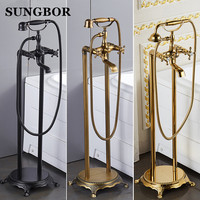 Bathroom Floor stand bathtub faucet Oil brushed black bath stand along tap Luxury free standing bronze brass mixer LD 8118K