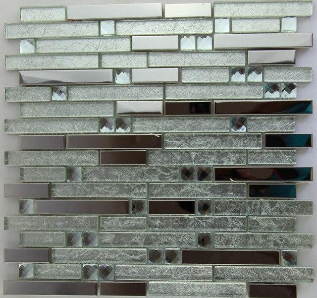 Mode Kristall Metall Mosaik Edelstahl Fliesen Dekoration Wandtafel Dusche  Bad Mosaiken Fliesen Parkett Kostenloser Versand