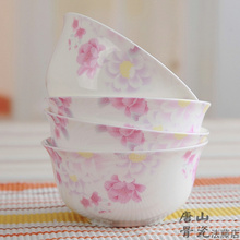 Lunch-Bowl Korean-Style Bowl-Rice Painting Blossom Soup Rose Japanese Bone-China