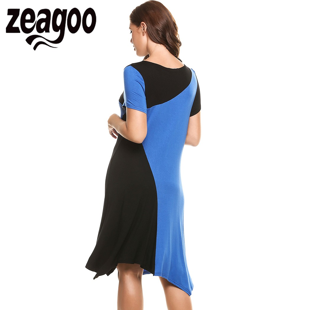 643d3b76ee11cb Zeagoo Casual Patchwork Dress O Neck Short Sleeve Office Dress A line  Asymmetrical Pleated Hem Pullover Elastic Loose Dress-in Dresses from  Women's Clothing ...